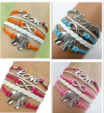 Infinity,love,elephant charm bracelet,women girl bracelet Friendship Gift