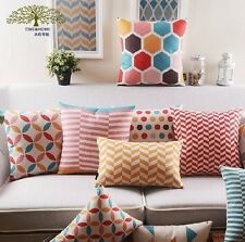 Decorative Pillow Cover linen Sunshine striped or chromatic geometry   T
