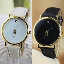 Simple Leather Band Wrist Watch Wristband Men Women Unisex Lover Black/White