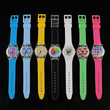 Cute Plastic Strap Band Aanalog Wrist Watch Wristband Bracelet Girl Gift