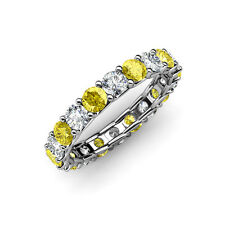 Yellow Sapphire & Diamond (SI2-I1, G-H) Eternity Band 2.61 - 3.23 ct tw 14K Gold