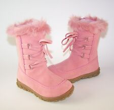 Girls New Ex High Street pink calf length boot with interlace front and fur top