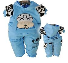 2PC baby boys outerwear+long Pants set  clothing cool dog size:0-2years