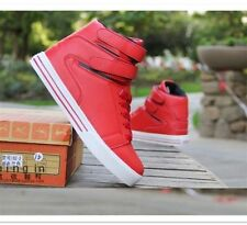 Red version of the high-top men casual shoes magic buckle PU sneakers +socks