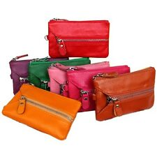 Women's Genuine Leather Colorful Wallet Purse Coin Credit/ID Card Key Case Clip