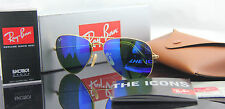 NEW Ray Ban Aviator RB 3025 112/17 55mm,58mm Blue Mirror Lenses Matte Gold Frame