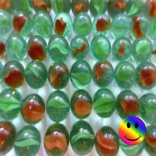 50 x Glass Marbles 16mm Red/Orange - Green Traditional Game Play - New