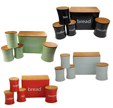 5 Piece Pastel Green Black Bread Bin and Canister Set Tin with Wooden Lids New