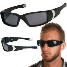 LOCS Rectangular Sunglasses Gangster Mens Thug Biker Dark Black Lens Shades