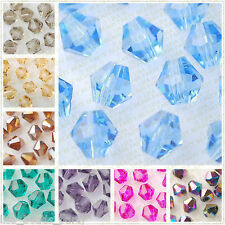 Wholesale 100pcs 6mm Bicone Faceted Crystal Glass Loose Spacer Beads Findings