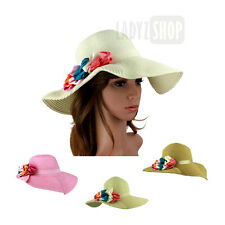 Womens Summer Sun Beach Straw Foldable Extra Wide Brim Floppy Hat 6 flowers LDH