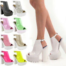 Women Cleated Sole High Heel Chunky Platform Boots Sandals Shoes Size
