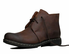Mens worker ankle boot chukka desert leather casual shoes black brown sneaker