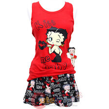Betty Boop Pajama Set Kiss Me Baby Tank Top Short Pants 2pc Set Red Black-4 Size
