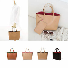 A278 Medium Duo Colors All Genuine Leather Simple Tote Shopper Bag with Pouch