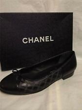 CHANEL 14P Stitched Black Leather Cap Toe Bow Ballerina Ballet Flat Shoes $775