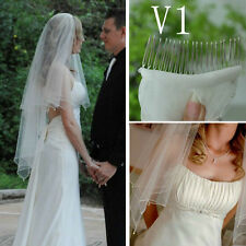 2014 White Ivory Beautiful Handmade beaded 2T Wedding Bridal Veil with Comb New