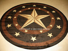 Round Texas Lone Star Rustic Cowboy Western Black Brown Area Rug *Free Shipping*