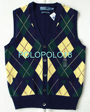 New $225 Polo Ralph Lauren Cotton Cashmere Argyle Vest Cardigan S M L XL
