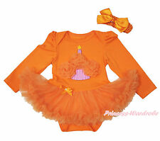 Infant Baby Girl Orange Rosettes Birthday Cake Bodysuit Baby Dress Outfit NB-18M