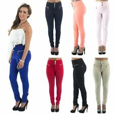 Womens New High Waisted 3 Button Skinny Jeggings Bright Summer Colours