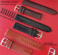 REPLACEMENT GENUINE  LIZARD LEATHER THIN STRAP BLACK/ BROWN FIT ROLEX / TUDOR