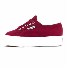 Womens Superga 2790 Linea Up Down Platforms Scarlet Red Trainers Shoes