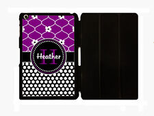 PERSONALIZED iPAD 2 3 4 MINI 1 2 CASE FOLD OVER COVER PURPLE GLITTER BLACK DOTS