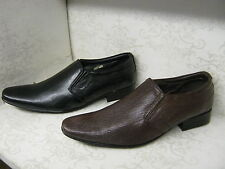 Men Tag1 AM-801 Black or Brown Leather Smart Slip On Shoes