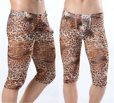 New Men U-bref Shorts Underwear Cool Leopard Shorts Small Holes Mesh Fifth Pants