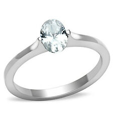 Stainless Steel Bezel Set Oval CZ Engagement Ring Size 5/6/7/8/9/10 FSH