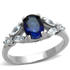 Stainless Steel Synthetic Montana Glass Engagement Ring Size 5/6/7/8/9/10 FSH
