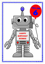PERSONALISED BIRTHDAY ROBOT CARD ANY AGE ANY NAME HAPPY BIRTHDAY MULTI