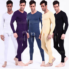 New Sexy Men Slim Fit Modal Thermal Pant+Top Set Underwear T-shirts & Long Johns