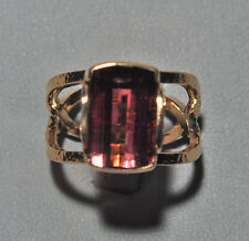 Faceted Rubelite Tourmaline 12.18ct Handcrafted 14k Gemstone Ring