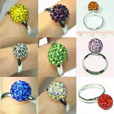 8mm/10mm Fashion Swarovski Crystal Disco Ball adjustable Ring 925 Silver