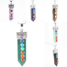 Crystal Quartz Amethyst Opal 7 Chakra Stone Healing Point Gemstone Sword Pendant