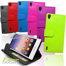 Photo ID Wallet Flip Leather Stand Case Cover for HUAWEI Ascend P7 +ScreenGd
