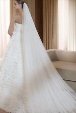 new white ivory 3m Length 2t Wedding Bridal Cathedral veil with Comb Edge lace