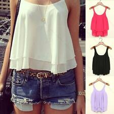 Womens Ladies Sexy Summer Loose Casual Chiffon Sleeveless Vest Shirt Tops Blouse