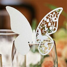 Butterfly Wedding Name Place Cards For Wine Glass Laser Cut On Pearlescent Card