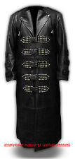 Mens Real Black Leather Goth/Matrix Trench Coat Steampunk Gothic Van Helsing(T8)