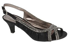 Ladies Black Open Toe Sling Back Evening Shoes with Diamante's F10287