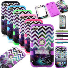 For iPod Touch 4 4th Gen Hard Soft Rugged Armor Hybrid Impact Rubber Case Cover