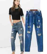 New Women Loose Fit Jeans Destroyed Boyfriend Ripped Washed Denim Trousers