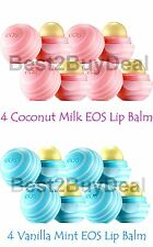 8 EOS Evolution of Smooth Lip Balm 4 VANILLA MINT/ 4 COCONUT MILK NEWEST FLAVORS