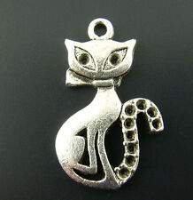 """Wholesale HOT!Silver Tone Cats Charms Pendants 25mmx16mm( x 5/8"""")"""