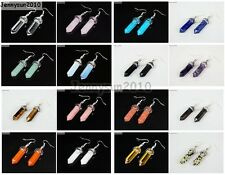 Natural Gemstones Hexagonal Pointed Reiki Chakra Silver Plated Earrings Healing