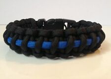 Police Thin Blue Line Tactical Paracord Survival Bracelet w/ Handcuff Key Buckle