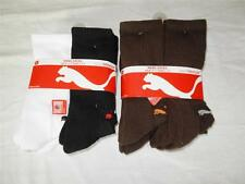 New Package of 6 Pairs Men's Puma Socks Size 10-13 NIP - Brown or Black/White